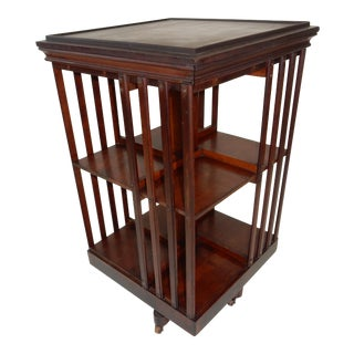 Antique Signed Danner Mahogany Revolving Bookcase For Sale