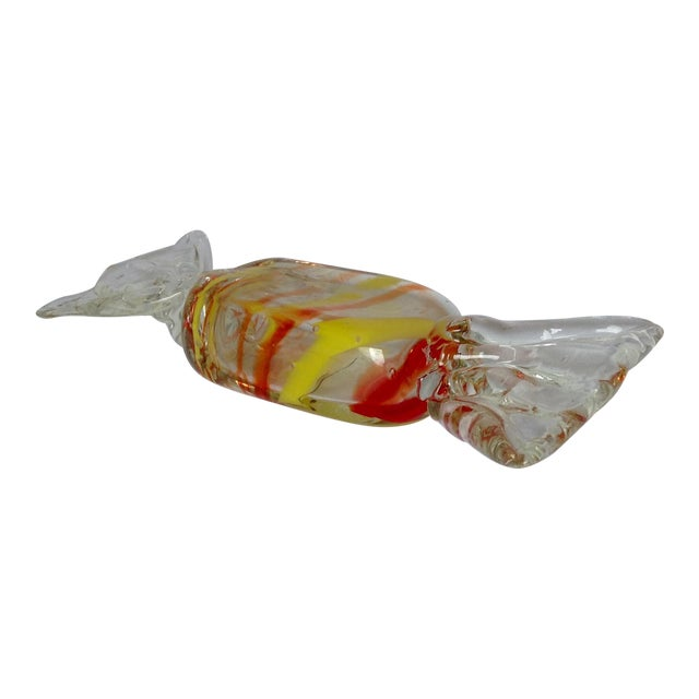 A. Seguso Italian Murano Hand Blown Large Candy Wrap Accent, Paperweight For Sale