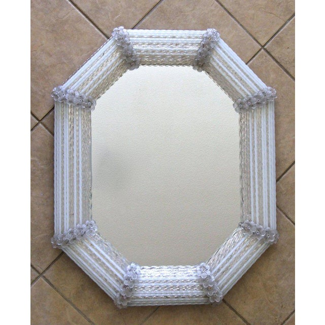 Murano Venetian White Clear Twisted Rod Floral Wall Mirror For Sale In Palm Springs - Image 6 of 13