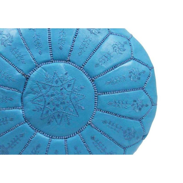 """An authentic Moroccan hand-made leather hassock, commonly known as """"pouf"""", which was made out of genuine soft leather...."""