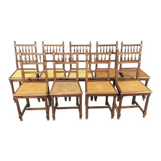 French Henri II Oak and Caned Dining Chairs -Set of 9 For Sale