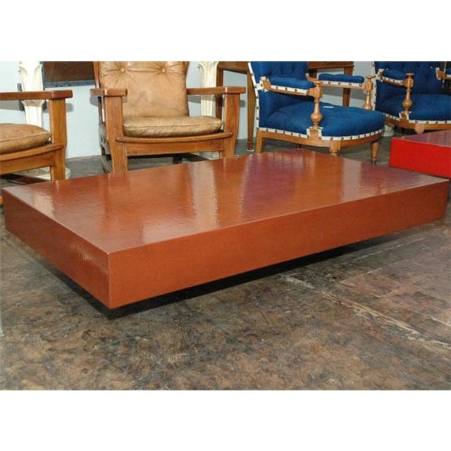"""""""Caisson"""" Cognac Crackled Lacquer Coffee Table by Design Frères For Sale - Image 9 of 9"""