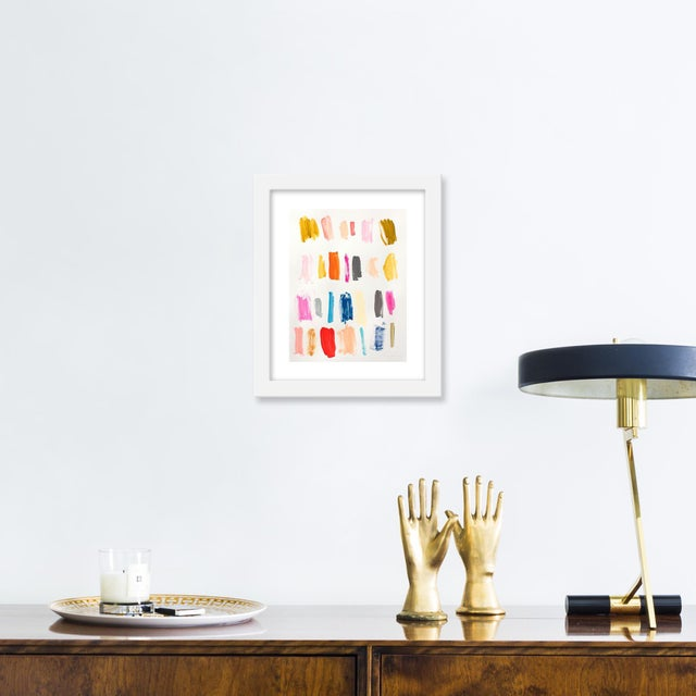 Giclée on textured fine art paper with white frame. Unframed print dimensions: 6.25x8.25. Seeking to create an abstract...