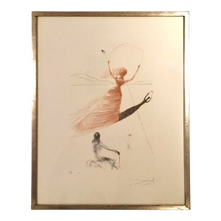 "Vintage ""Alice Frontispiece"" Etching Print Signed Salvador Dali For Sale"