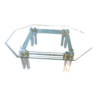 Mid-Century Modern Lucite, Brass, & Glass Coffee Table For Sale
