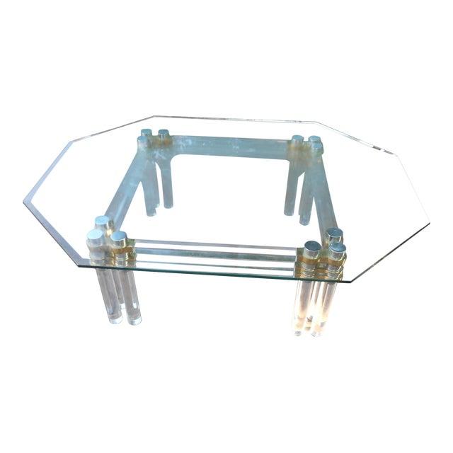 Mid Century Modern Lucite Brass Glass Coffee Table Chairish