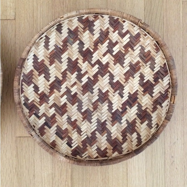 Woven Ethnic Baskets - A Pair - Image 4 of 5