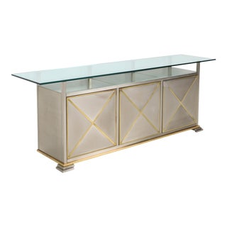 1970s Maison Jansen Credenza with Clear Glass Top For Sale