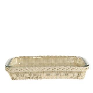 Small Rectangular Glass Dish in Faux Rattan