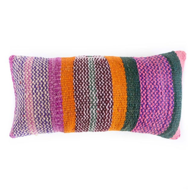 Boho Chic Peruvian Frazada Fiesta Stripe Lumbar Pillow - 24ʺW × 12ʺH For Sale - Image 4 of 4