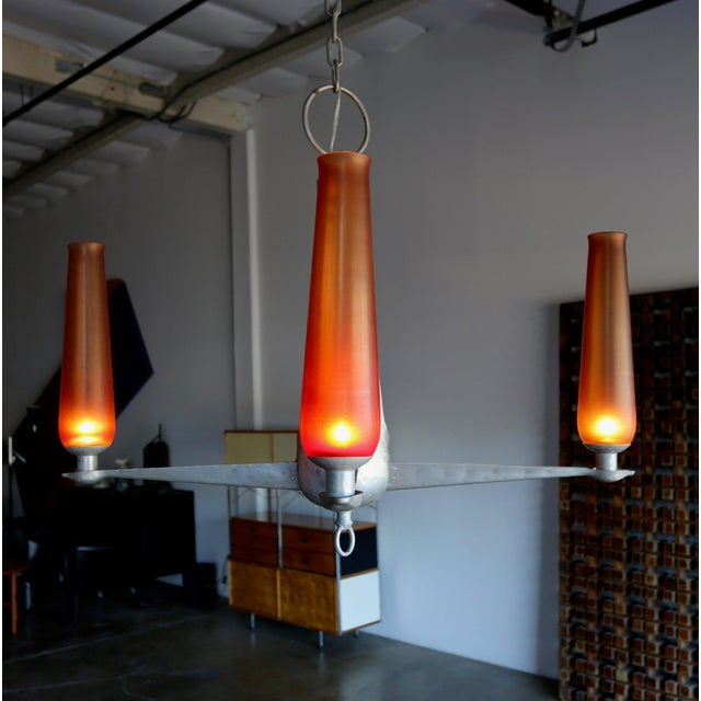 Mid-Century Modern 1960s Mid-Century Modern Aluminum and Venini Glass Chandelier For Sale - Image 3 of 9