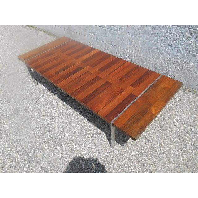 Walnut And Chrome Coffee Table: Rare Lane Mid-Century Modern Chrome Walnut & Rosewood