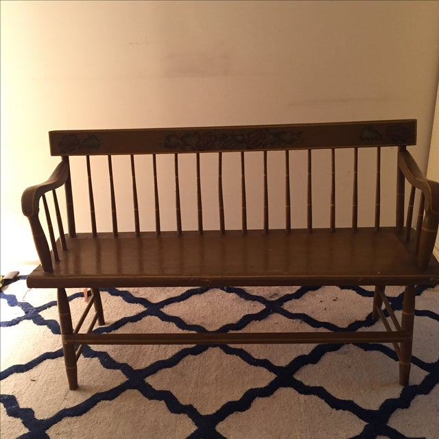 Antique Bench with Floral Painting - Image 2 of 4