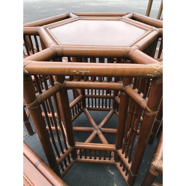 Vintage Brown Jordan Rattan Brighton Pavilion Style Table Four Chairs For Sale - Image 6 of 13