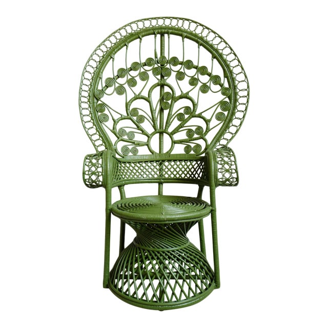 Green Moss Wicker Peacock Chair For Sale