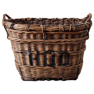 French Wicker Champagne Region Harvest Basket For Sale