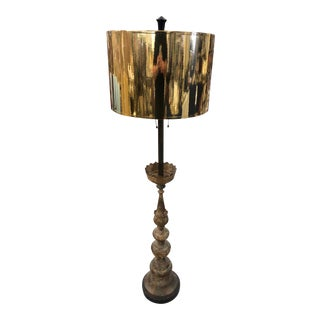 Gilt Floor Lamp With Gold Foil Shade For Sale