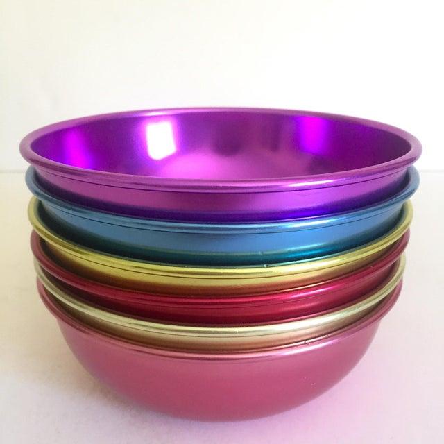 Various Artists Vintage Mid Century Modern Anodized Spun Aluminum Multicolor Snack Dessert Bowls - Set of 6 For Sale - Image 4 of 13
