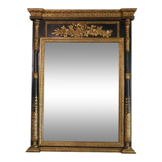 1940s Neoclassical Parcel-Gilt Mirror With Carved Giltwood Columns For Sale