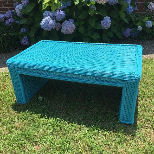 Caribbean Blue Indoor-Outdoor Wicker Coffee Table - Image 2 of 7