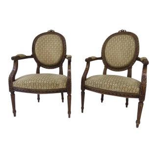 Antique Louis XVI Armchairs - A Pair For Sale