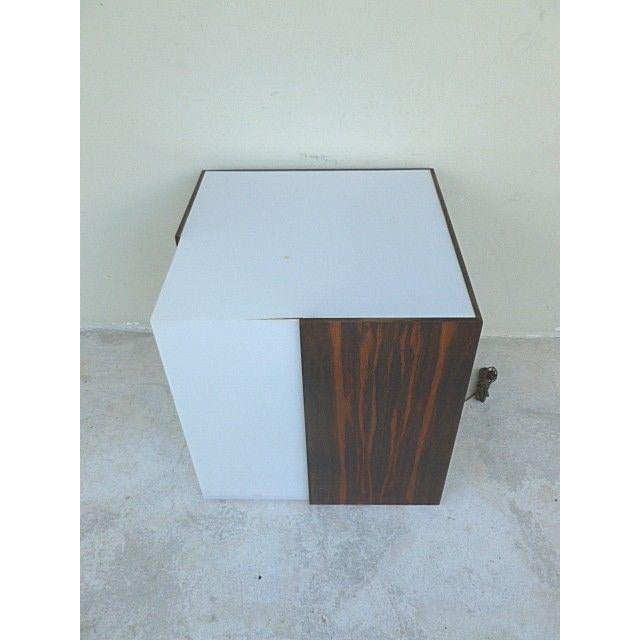 Wood 1970s Mid Century Modern Rosewood & Acrylic Floor Lamp Table For Sale - Image 7 of 13