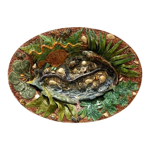 Large Palissy Platter, France Circa 1880 For Sale