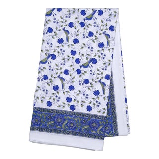 Birds On Vine Tablecloth, 4-seat table - Blue For Sale
