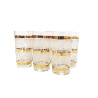 Mid Century Set of 6 Culver Gold Banded High Boys Glasses For Sale