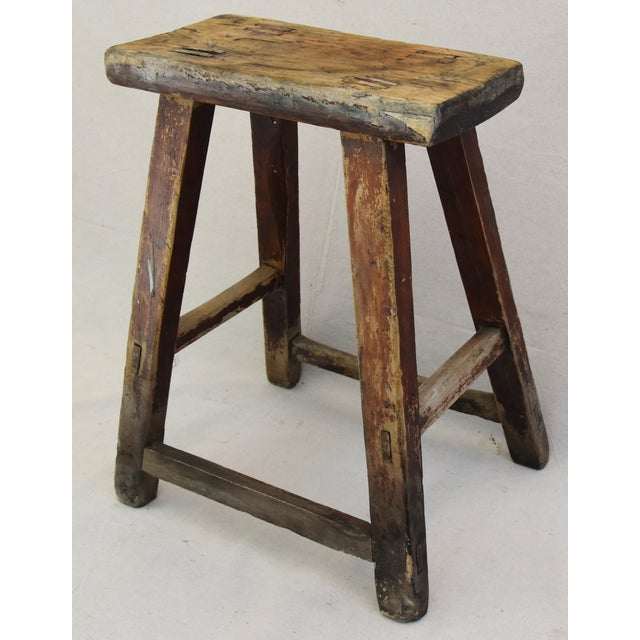 Rustic Primitive Country Wood Farmhouse Stool - Image 4 of 11