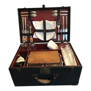 Early 30's Picnic Hamper & Picnic Set For Sale