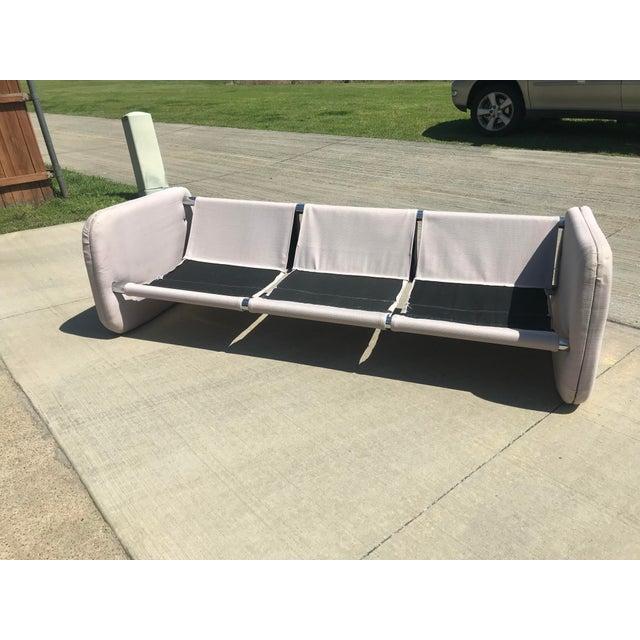 Tan 1980s Vintage Milo Baughman Style Tubular Chrome Sling Three-Seater Sofa For Sale - Image 8 of 11