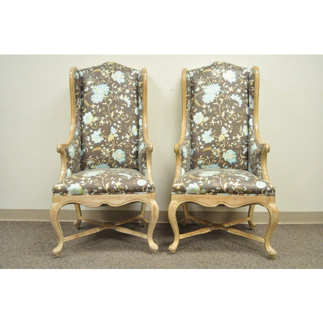 Pair of Hollywood Regency French Country Carved Wing Back Fireside Lounge Chairs - Image 5 of 11