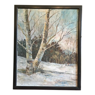 French Oil Painting Landscape Birch Trees, Signed For Sale