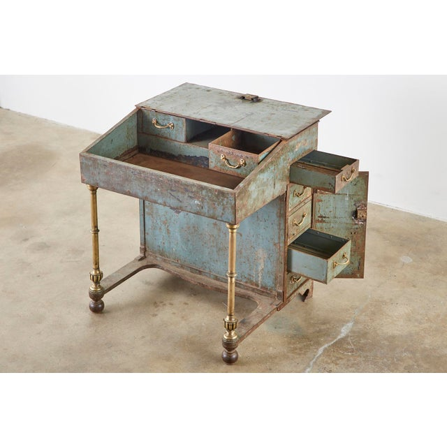 Rare 19th century English Industrial period davenport desk. Made from thick iron with bronze legs and campaign style...