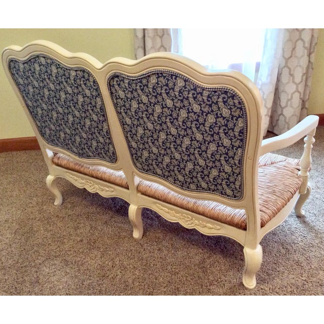 Antique Styled White Country French Provential Rush Seat Settee For Sale - Image 11 of 13