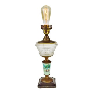 Antique Electrified EAPG Oil Lamp w/ Decorative Mint Green Milk Glass Column