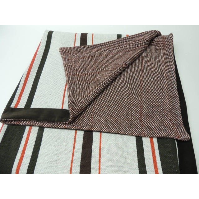 Large Brown and Orange Stripes Allessandra Branca Throw For Sale - Image 4 of 6