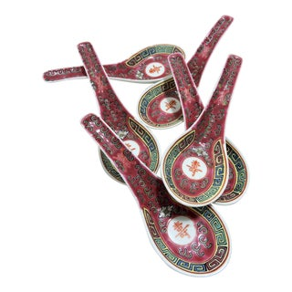 Vintage Traditional Chinese Red Rice Spoons - Set of 6, Late Republic Period For Sale