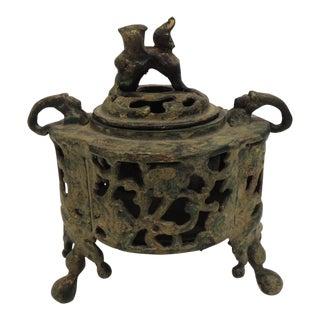 Vintage Bronze Asian Incense Burner with Foo Dog Cover Lid For Sale