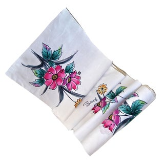 Vintage Guy Laroche Floral Cotton Fabric - 12 Yard Bolt For Sale