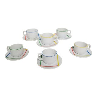 1980's Postmodern Sasaki Stoneware Variations One Cup and Saucer Sets - Set of 6 For Sale