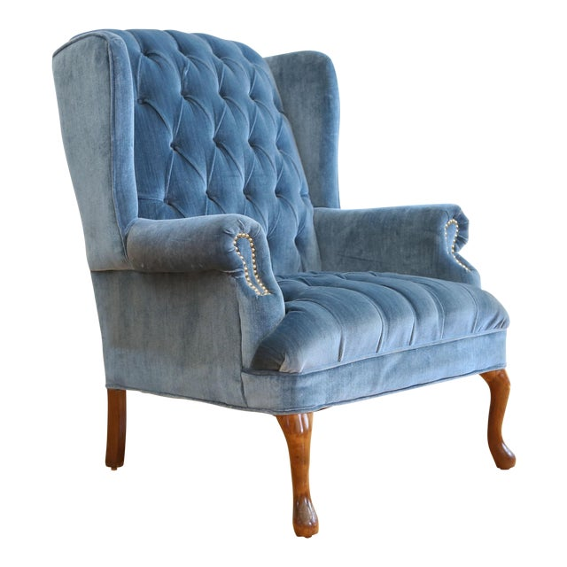 Vintage Blue Navy Tufted Velvet Wingback Chair Chairish