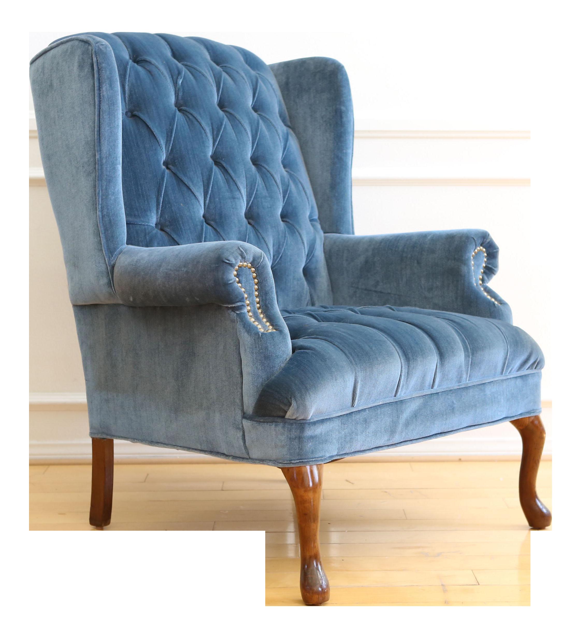 Vintage Blue Navy Tufted Velvet Wingback Chair