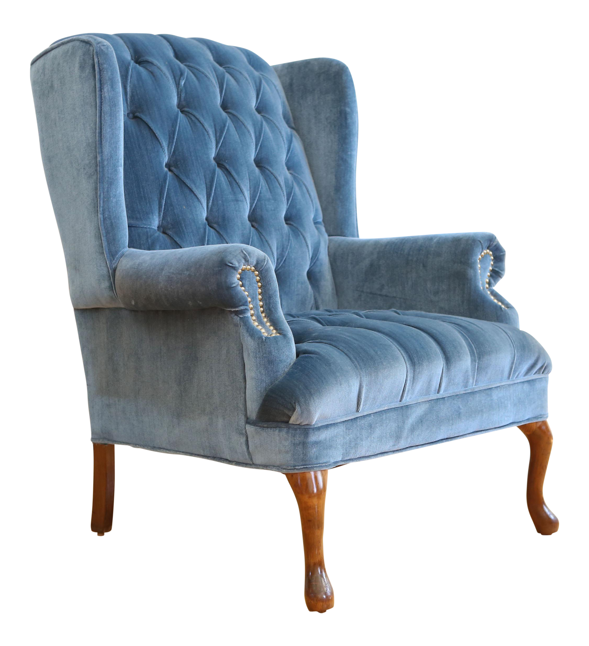Vintage Blue Navy Tufted Velvet Wingback Chair  sc 1 st  Chairish : blue velvet wingback chair - Cheerinfomania.Com