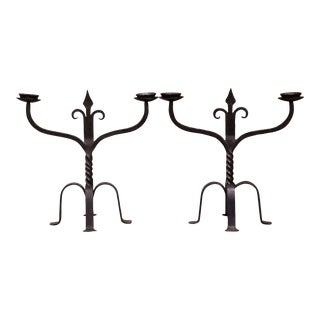 19th Century French Gothic Revival Wrought Iron Two-Arm Candelabras - a Pair For Sale