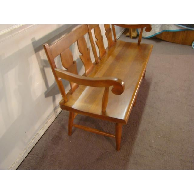 1980s Stickley Solid Cherry Settee or Bench For Sale - Image 5 of 9