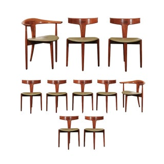 Incomparable Set of Ten Dining Chairs by Erik Andersen and Palle Pedersen