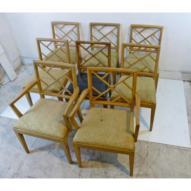 1940s Landstrom Mid-Century Modern Lattice Back Dining Chairs - Set of 8 For Sale In Los Angeles - Image 6 of 8