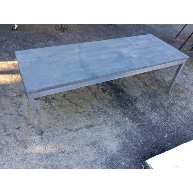 Silver 1990s Minimalistic Slate Coffee Table With Aluminum Base For Sale - Image 8 of 11